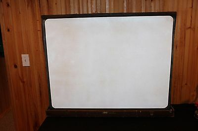 Vintage Pop up Portable Movie PROJECTOR SCREEN ~  IN DOVETAILED WOOD CASE