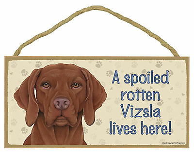 A spoiled rotten Vizsla lives here! Wood Puppy Dog Sign Plaque USA Made