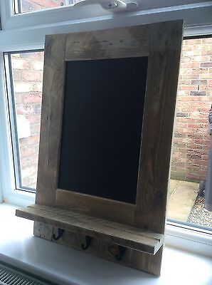 Rustic Chalkboard with Hooks and Chalk Shelf made from reclaimed pallet wood