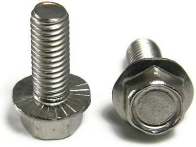 "Stainless Steel Hex Cap Serrated Flange Bolt FT UNC #10-24 x 1/2"", Qty 100"