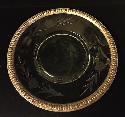 Serving Plate WM Rogers Mfg Co Sterling Silver Border Cut Glass/Crystal Body925