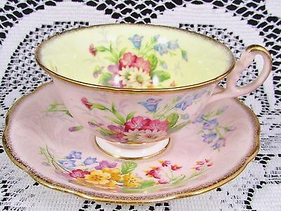 Foley Floral Sprays Pink Sponged Gold Yellow Tea Cup And Saucer