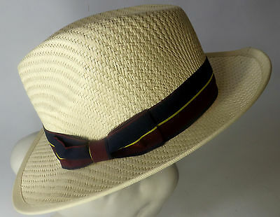 Trilby Summer Hat New Unisex Wide Brim Sun Fashion Natural Blue Red Yellow Band