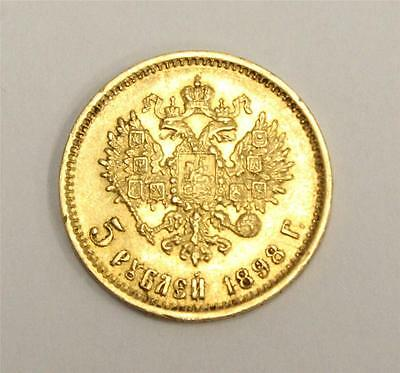 1898 Russia 5 Rubles Gold Coin Extremely Fine+ EF45 condition authentic original