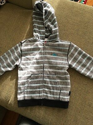 Quiksilver Hoodie For Toddler Boys - Size: 3T- Gray with Light Blue Stripes