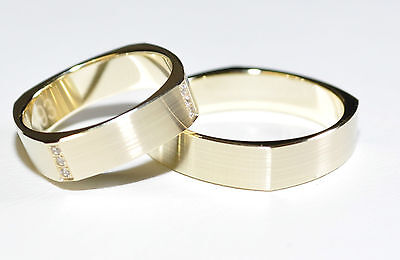 1 Pair Wedding rings Bands wedding rings Gold 585 with zirconia - width: 5,2mm