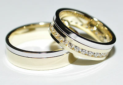 1 Pair Wedding Rings Bands Gold 585 - Women's ring with zirconia - width: 5,8mm