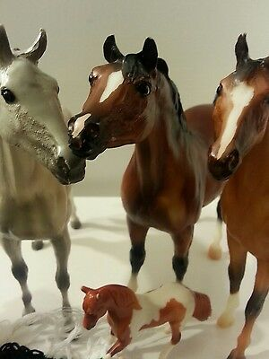 Lot of 4 Breyer horses and accessories & Rider figure good playing condition