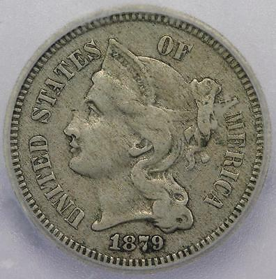 1879 Three Cent Nickel ICG VF35 - Better Date - *DoubleJCoins* RR14