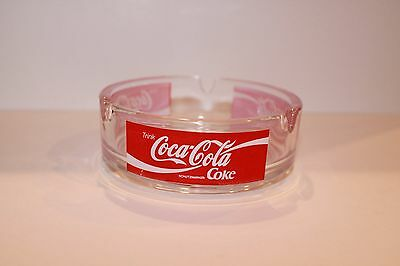 "Vintage COCA-COLA Glass Ashtray 4"" x 1 1/2"" GUC"