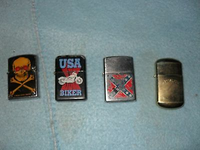 Lot of 4 Vintage Lighters Biker, Skull and Crossbones Camel
