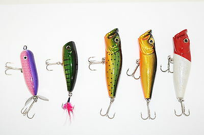 Assorted Lure Packs 5x Mixed Topwater Popper Hardbody Lures AE4405