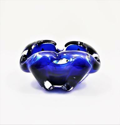 RETRO VINTAGE MURANO COBALT BLUE AND CLEAR ART GLASS ASHTRAY c1960's