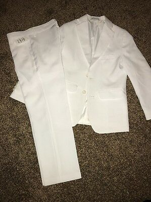 NWT Boys White Suit Size 8 2 Piece Jacket And Pants - Wedding