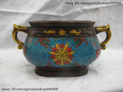 Chinese 100% Bronze cloisonne Two Dragon Head ear Incense Burner Censer