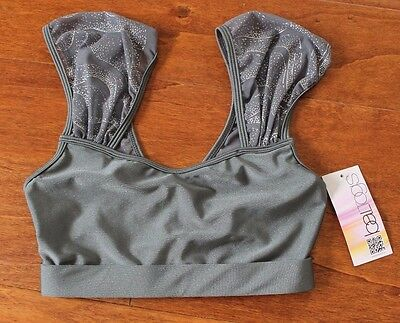 NWT! Boltogs gray sparkle Dance gymnastics bra top , size M (9/10)