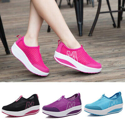 Womens Casual Breathable Sneakers Slip On Loafers Sport Mesh Flat Shoes Trainers