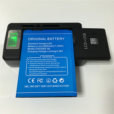 Original 3.8V 3000mAh Phone Battery For DOOGEE X6  X6 Pro / SS-8 Charger
