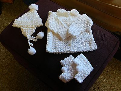 Vintage Handmade Baby Infant Set, White Sweater Hat Booties, Size 3-6 months