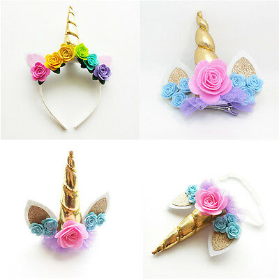 Chiffon Flower Hair Bands Baby Tiara Kids Headband Girls Headwear Unicorn Horn