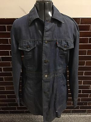 Vtg Levis Men ORANGE TAG DENIM CHORE BARN Blue Jean RAILROAD SAFARI Jacket Large