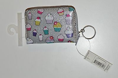 Kid's Silver Glitter Cupcake Wallet With Attached Keychain Brand New