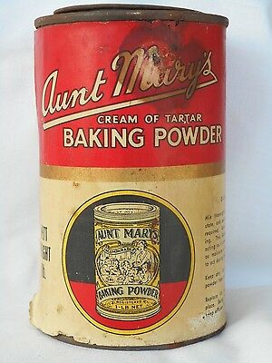 Vintage  Aunt Marys Cream Of Tartar Baking Powder 1 Lbs Tin Still Full