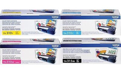 Genuine Oem Brother Tn315Bk Tn310C Tn310Y Tn310M Toner Set (4-Pack) *new*