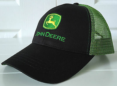 John Deere Black With Green Mesh Back Cap With Logo