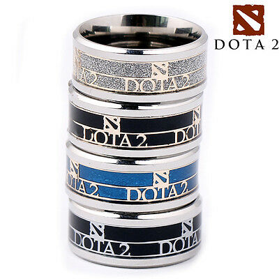 Fashion DOTA 2 Enamel Stainless Steel Band Ring Cosplay Jewelry Gift US 8/9/10