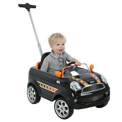 Mini Cooper Push Buggy in Black/Orange, Kids Ride On Car