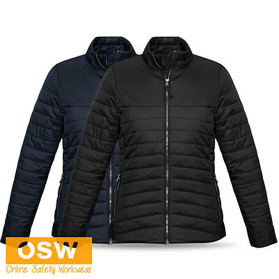 Ladies Black/Navy Nylon Ripstop Casual Office Winter Expedition Quilted Jacket