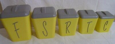 Retro 50's Vintage Gay Ware Canisters Set X5 Yellow Grey Lids Plastic EC