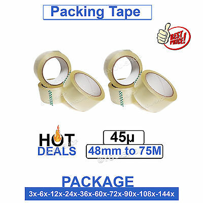 CLEAR PACKING TAPE Rolls BOX CARTON PACKAGING STICKY TAPE 75M X 48MM SEALING