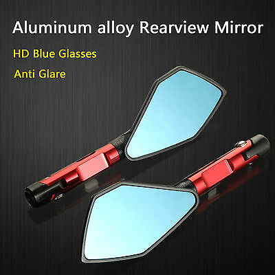 Pair 8/10mm Universal  Motorcycle Bike Rear View Mirrors Handle Bar End Aluminum