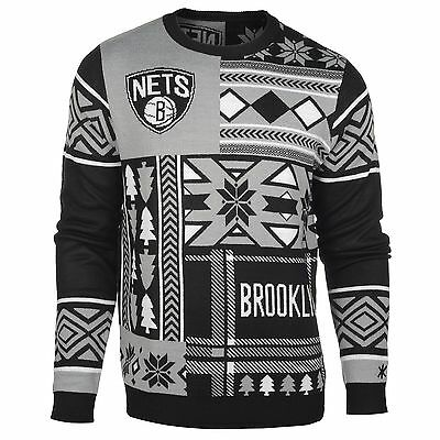 Adults Medium Brooklyn Nets Patches UGLY Sweater M17