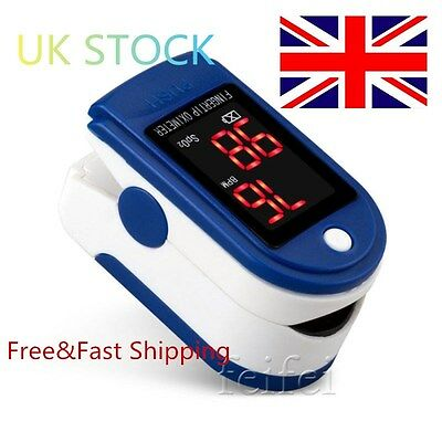 UK STOCK Finger Tip Pulse Oximeter Blood Oxygen saturation Level Fingertip SpO2