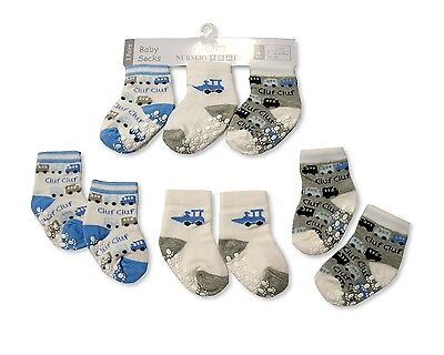 3 Pairs of Baby Boys Socks Anti Slip Blue Train & Digger  0-3 or 3-6 Months