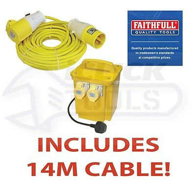 Faithfull 110v Twin Socket Work Site Transformer 3.3 KVA Heavy Duty & 14m Cable