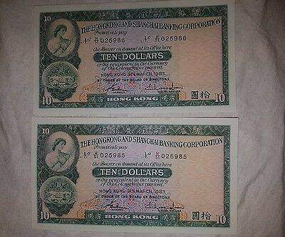 HKSB Corporation 1977 $10 Ten Dollars Banknotes 2 conc  025985-86 Unc