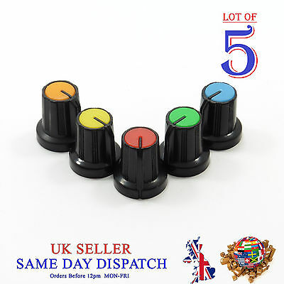 5x Small 6mm Push on Knob for Potentiometer Plastic Cap Different Colors 15mm