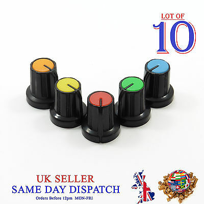 10x Small 6mm Push on Knob for Potentiometer Plastic Cap Different Colors 15mm