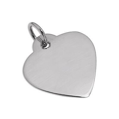 Large Sterling Silver Heart Dog Collar Tag Pet Hearts / Name Tag / Engravable