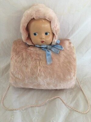Composition Doll Head Child Size MUFF Pink Mohair TOO CUTE!