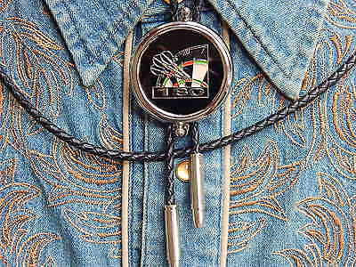 Western Dart Board 180 Bolo Bootlace Tie silver metal Leather cord New Fléchettes