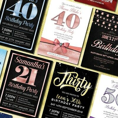 18th 21st 30th 40th 50th 60th Birthday Invitations Personalised, Party Invites