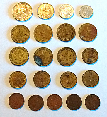 Lot of 21 German Coins, Deutsches Reich 1917, Bank Deutscher 1949, Mixed Lot