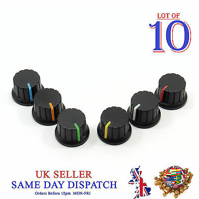 10x 6mm Big Push on Knob for Potentiometer Plastic Cap Different Colors 24mm