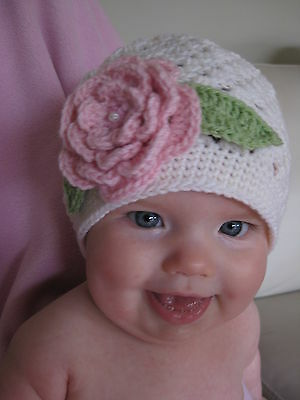 Baby Girl Toddler Hand Made Crochet Hat Beanie Flower Knitted Photo Prop