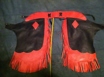 Vintage Chap-Parel Gerald Roberts Youth Chaps Red Black Leather Suede W/ Fringe